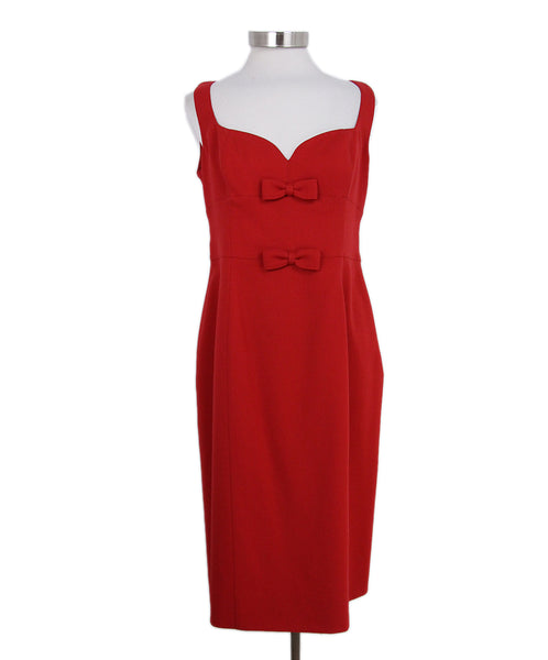 Valentino Red Wool Bow Detail Dress 1