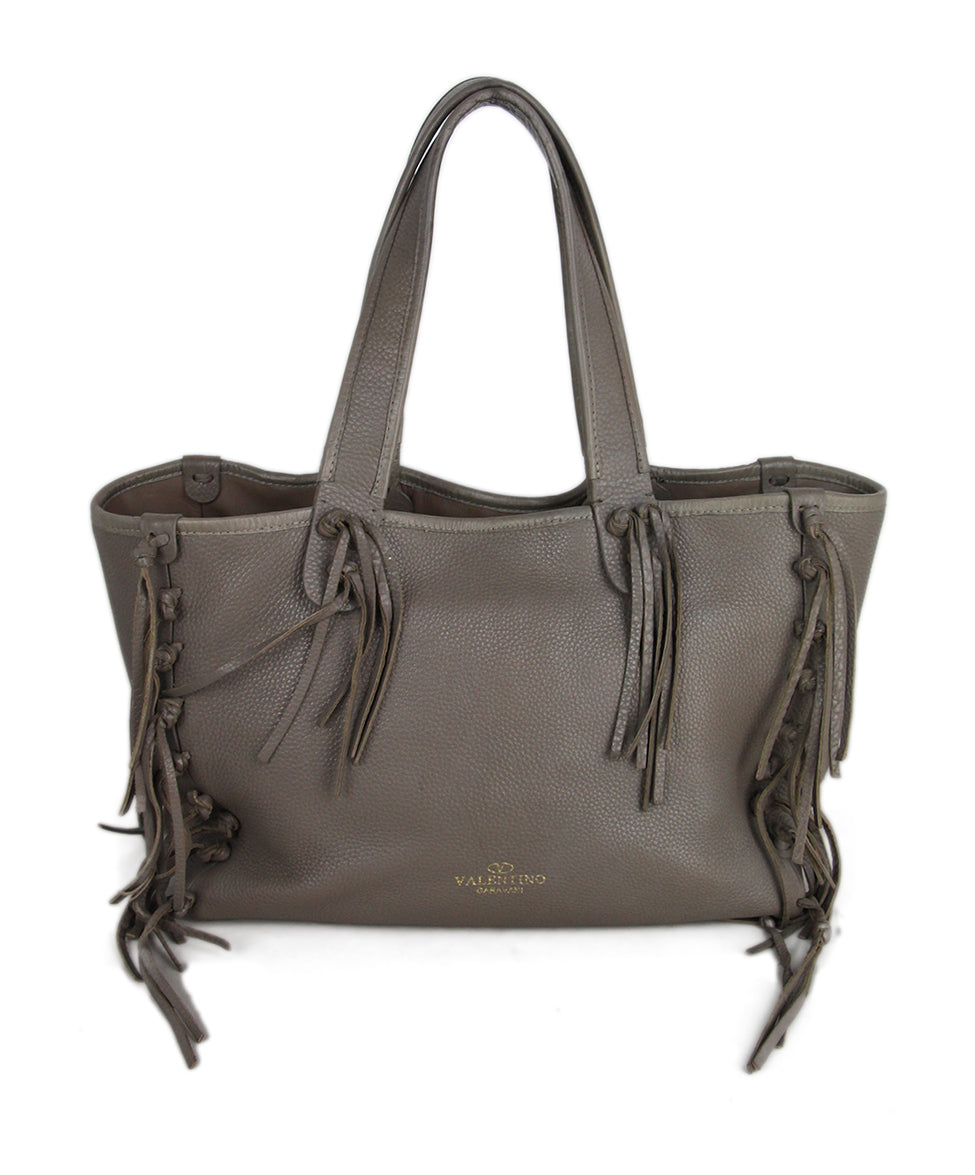 Valentino Taupe Leather Tote 1