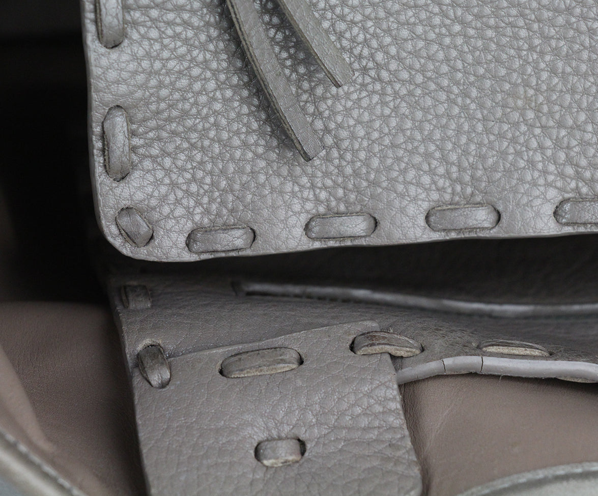 Valentino Taupe Leather Tote 9