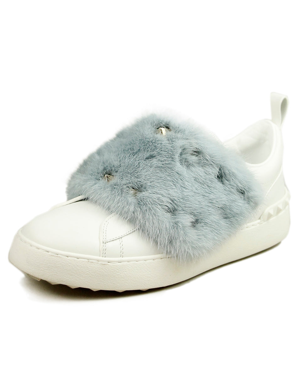 Valentino White Leather Blue Mink Sneakers 1