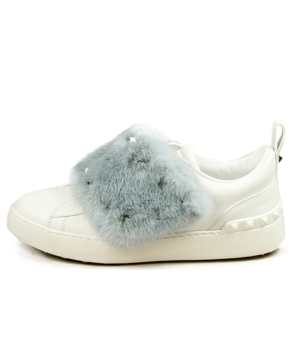 Valentino White Leather Blue Mink Sneakers 2