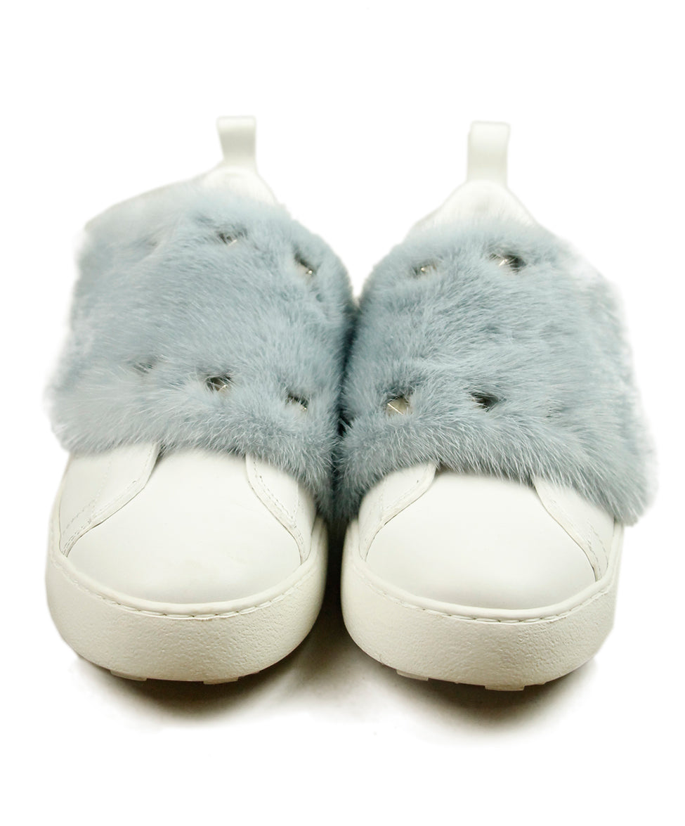 Valentino White Leather Blue Mink Sneakers 4