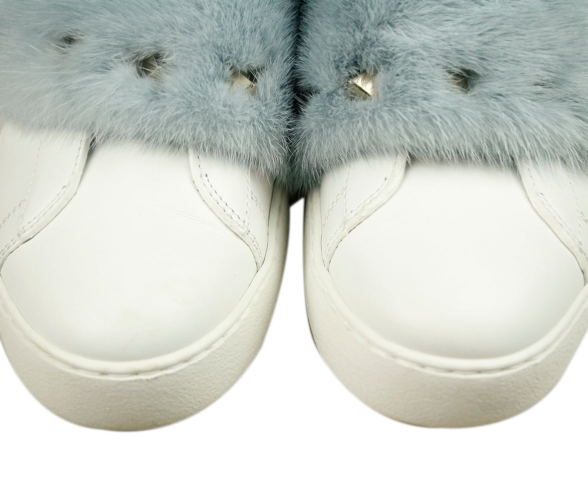 Valentino White Leather Blue Mink Sneakers 6
