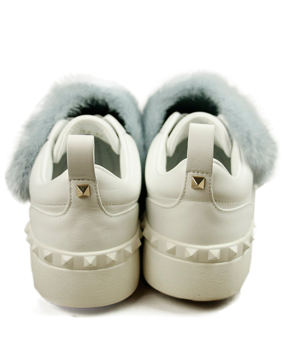 Valentino White Leather Blue Mink Sneakers 7