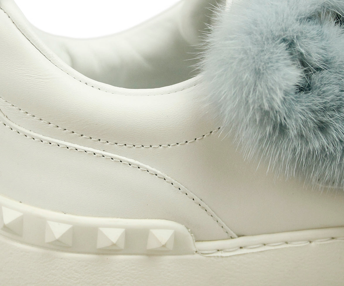 Valentino White Leather Blue Mink Sneakers 9