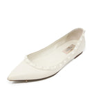 Valentino White Leather Flats with Studs Detail 1