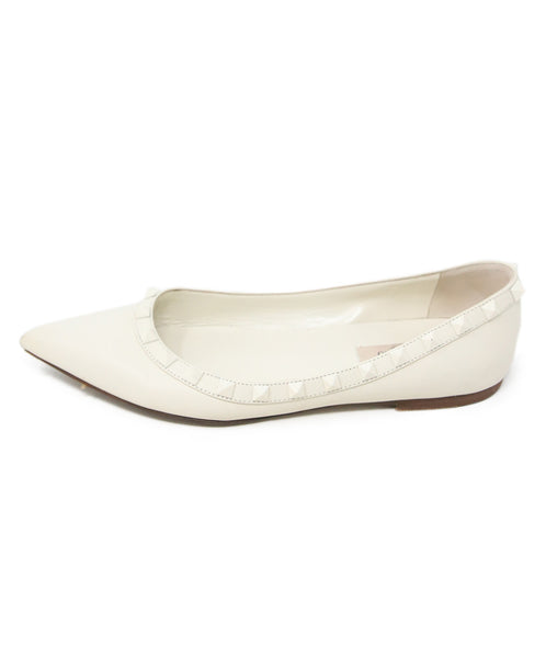 Valentino White Leather Flats with Studs Detail 2