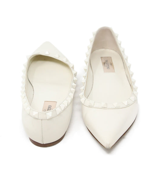 Valentino White Leather Flats with Studs Detail 3