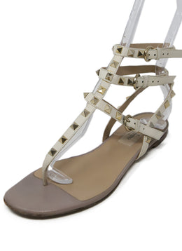 Valentino Cream Leather Gold Studs Sandals 1