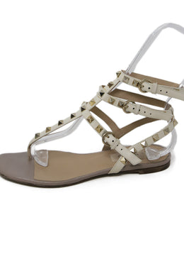 Valentino Cream Leather Gold Studs Sandals 2
