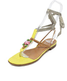 Valentino Yellow and Brown Leather Sandals Rhinestone Detail 1