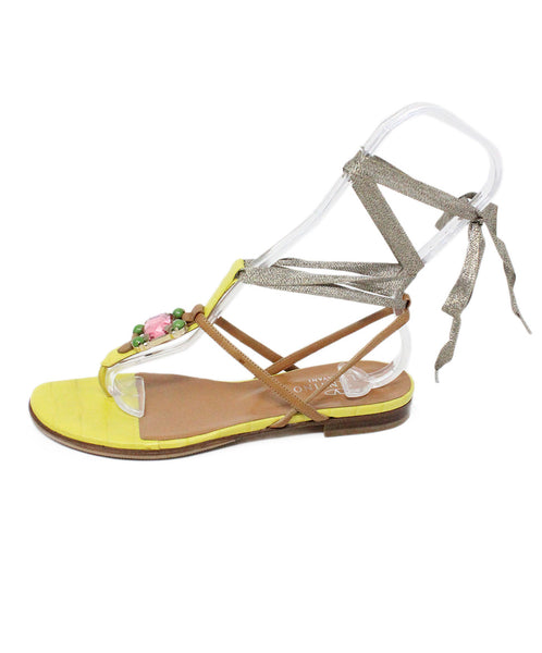 Valentino Yellow and Brown Leather Sandals Rhinestone Detail 2