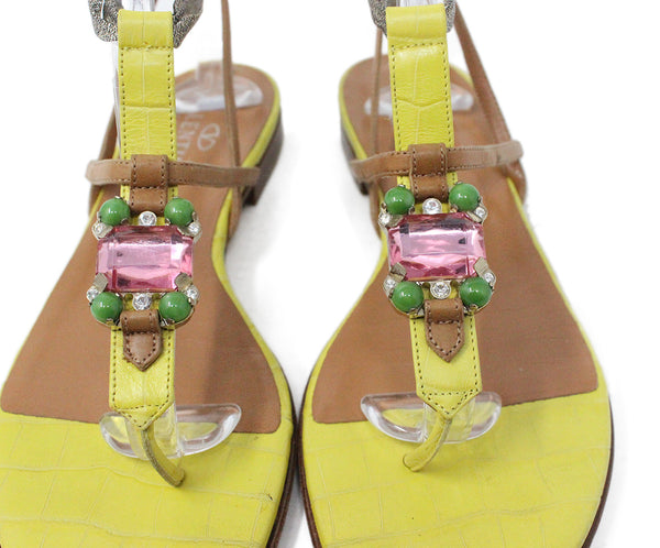 Valentino Yellow and Brown Leather Sandals Rhinestone Detail 6