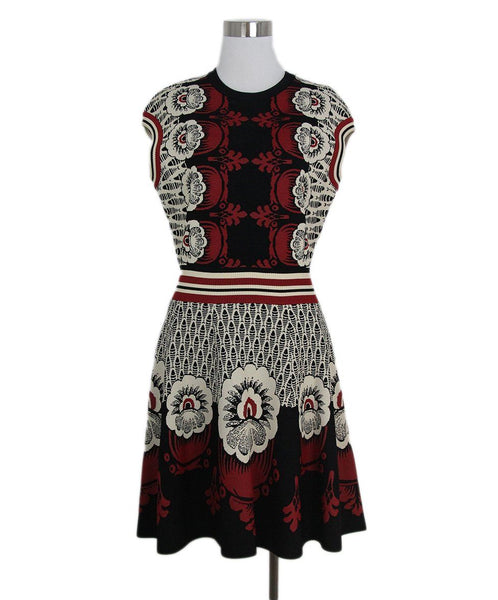 Valentino black burgundy white print dress 1