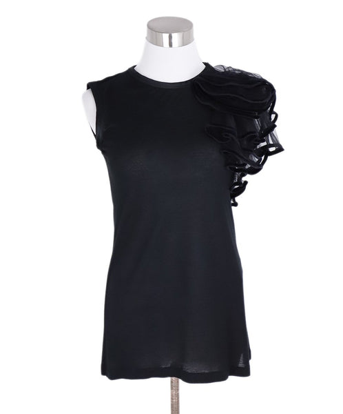 Valentino Black Cotton Velvet Trim Top 1