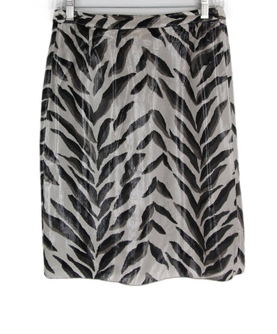 Valentino Black Grey Print Silk Polyamide Skirt 1
