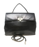 Valentino Black Leather Handbag with Gold Stud Detail and Removable Shoulder Strap 6