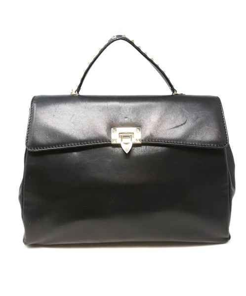 Valentino Black Leather Handbag with Gold Stud Detail and Removable Shoulder Strap 1