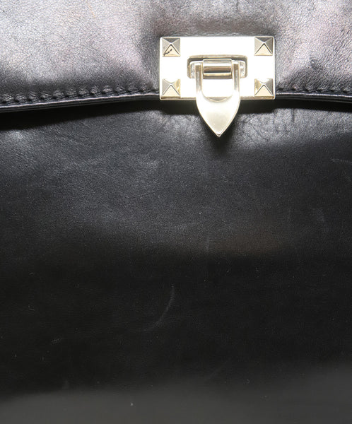 Valentino Black Leather Handbag with Gold Stud Detail and Removable Shoulder Strap 9