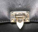Valentino Black Leather Handbag with Gold Stud Detail and Removable Shoulder Strap 10