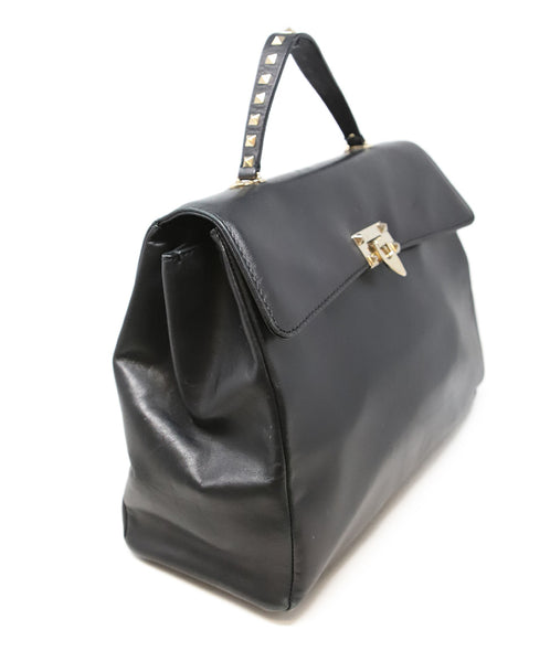 Valentino Black Leather Handbag with Gold Stud Detail and Removable Shoulder Strap 2