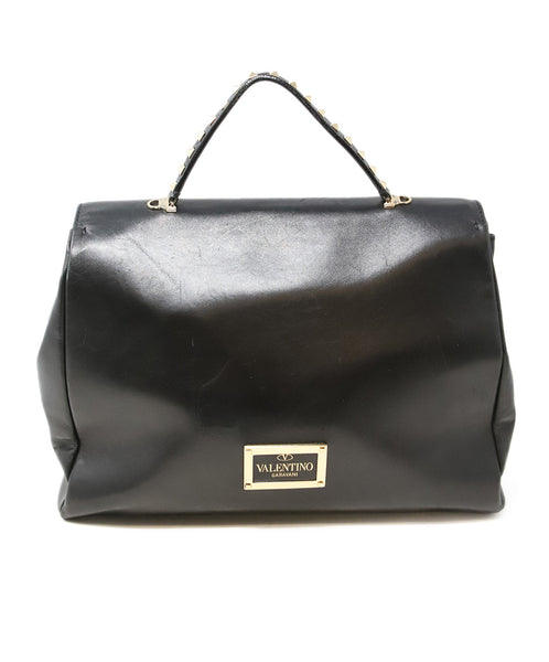 Valentino Black Leather Handbag with Gold Stud Detail and Removable Shoulder Strap 3