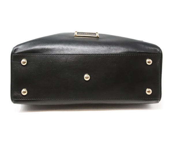 Valentino Black Leather Handbag with Gold Stud Detail and Removable Shoulder Strap 4