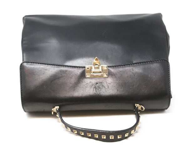 Valentino Black Leather Handbag with Gold Stud Detail and Removable Shoulder Strap 5