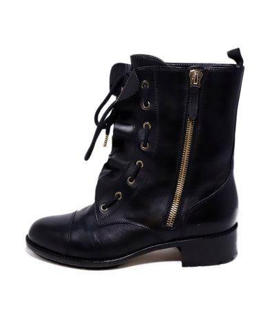Valentino Black Leather Ruffle Detail Combat Boots 1