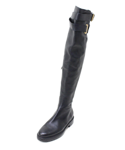 Valentino Black Leather Knee High Boots