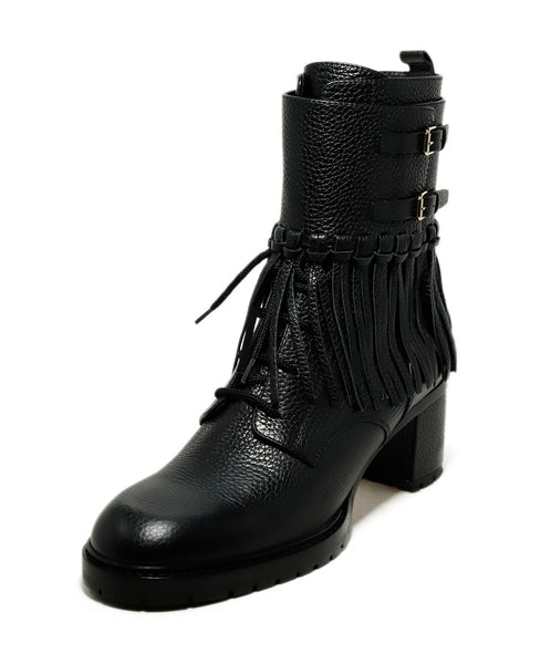 Valentino Shoe Size US 9.5 Black Leather Fringe Buckle Booties 1