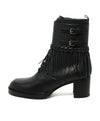 Valentino Shoe Size US 9.5 Black Leather Fringe Buckle Booties 2