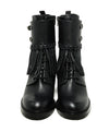 Valentino Shoe Size US 9.5 Black Leather Fringe Buckle Booties 3