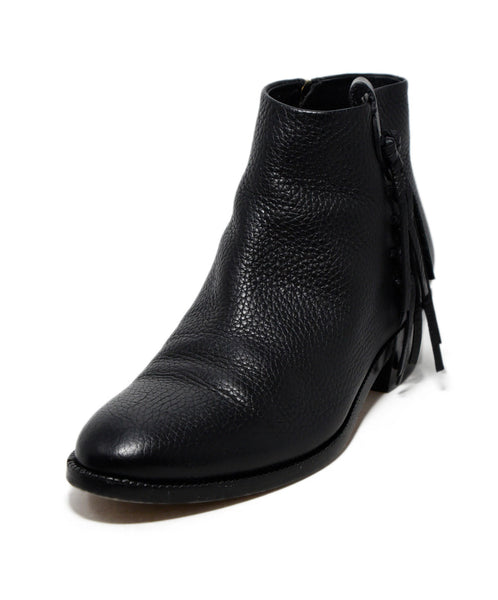 Valentino Black Leather Fringe Trim Booties 1