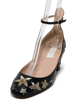 Valentino Black Leather Gold Silver Sequins Heels 1