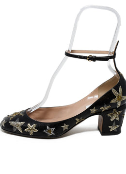 Valentino Black Leather Gold Silver Sequins Heels 2