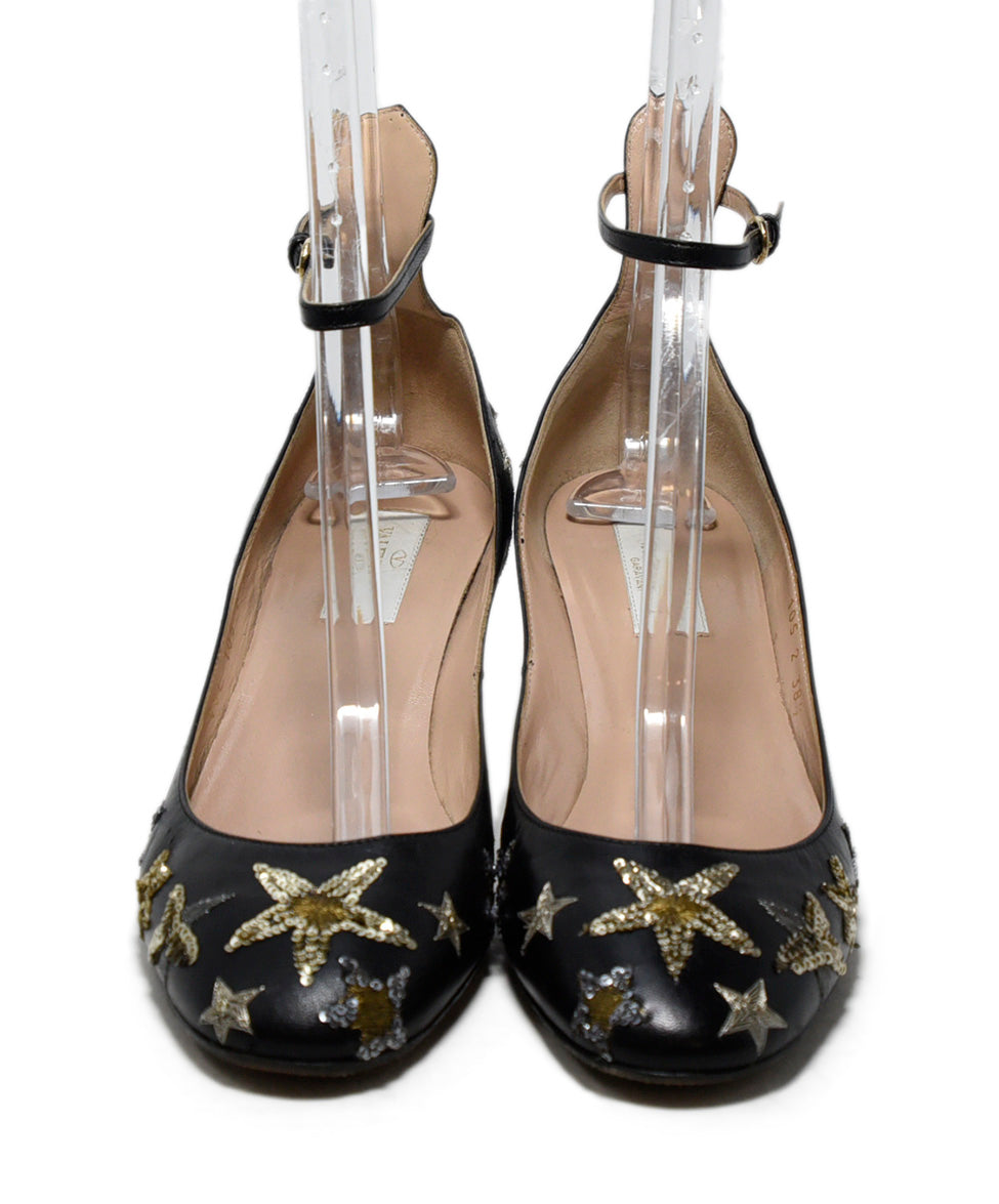 Valentino Black Leather Gold Silver Sequins Heels 4