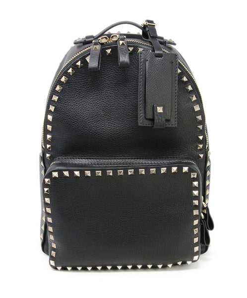 Backpack Gold Hardware Valentino Black Leather Gold Studs 1