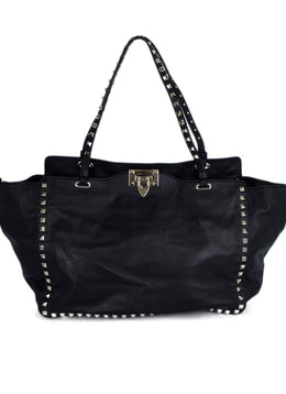 Valentino Black Leather Silver Studs Shoulder Bag Handbag 1
