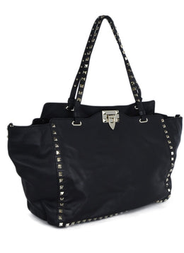 Valentino Black Leather Silver Studs Shoulder Bag Handbag 2