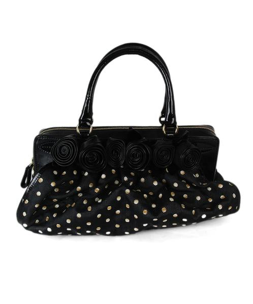 Valentino Black White Wicker Polka Dots Patent Handbag