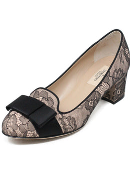 Valentino Black Pink Lace Leather W/Dust Cover Shoes