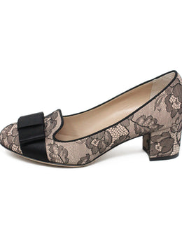 Valentino Black Pink Lace Leather W/Dust Cover Shoes 1