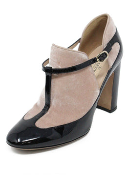 Valentino Black Pink Patent Leather Velvet Heels Sz 7.5
