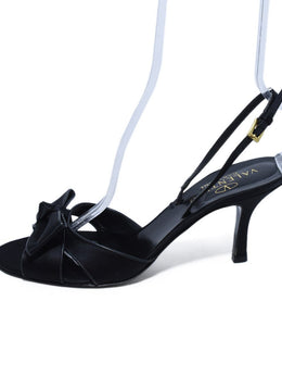 Valentino Black Satin Leather Trim Heels Sz. 41.5 | Valentino