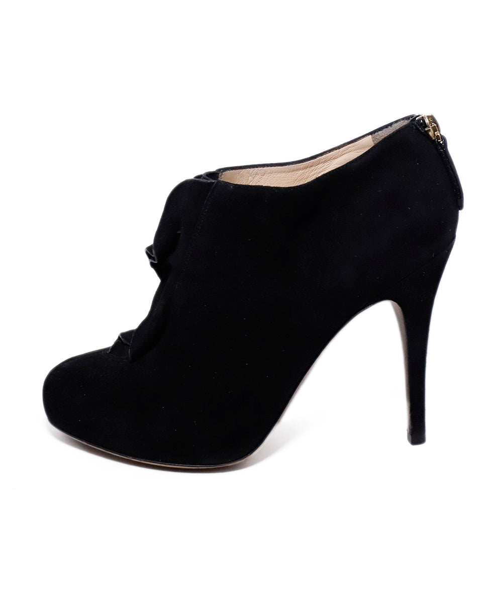 Valentino Black Suede Ruffle Trim Booties 2