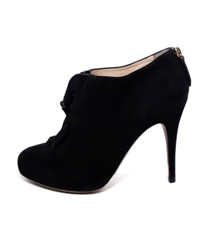 Valentino Black Suede Ruffle Trim Booties 1