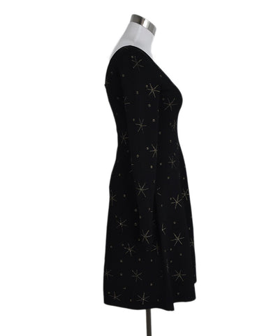 Valentino Black Viscose Gold Stars Dress 1