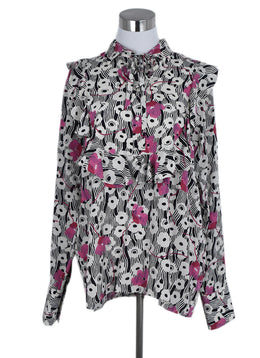 Valentino Black White Pink Floral Silk Top Blouse 1