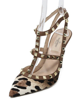 Valentino Brown Animal Print Leather Fur Studded Shoes